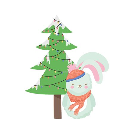 merry christmas celebration rabbit with scarf and decorative tree vector illustration
