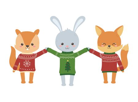 merry christmas celebration rabbit squirrel and fox sweater party vector illustration