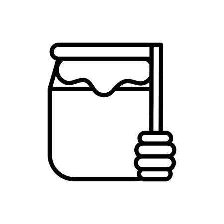 honey jar rural agriculture thick line vector illustration
