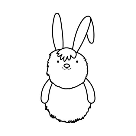fluffy rabbit adorable toy icon on white background vector illustration thick line