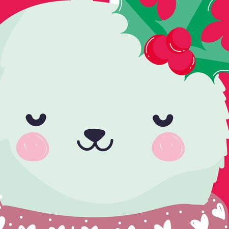 merry christmas celebration cute rabbit head with scarf and holly berry vector illustration Çizim