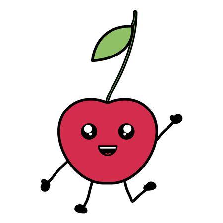 delicious cherry fruit character vector illustration design Çizim