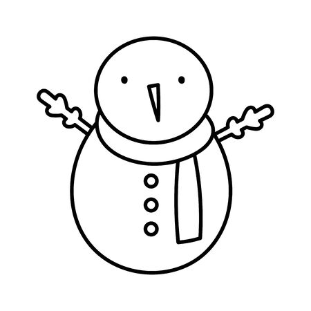 merry christmas celebration snowman with scarf vector illustration thick line Stok Fotoğraf - 133703733