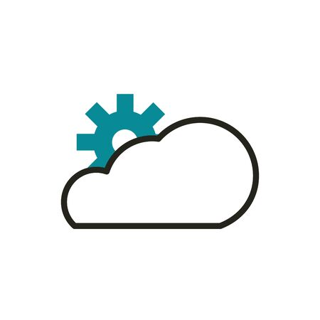cloud computing setting web development icon vector illustration line and fill Ilustração