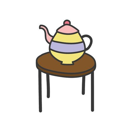 brown round table with teapot icon vector illustration Illustration