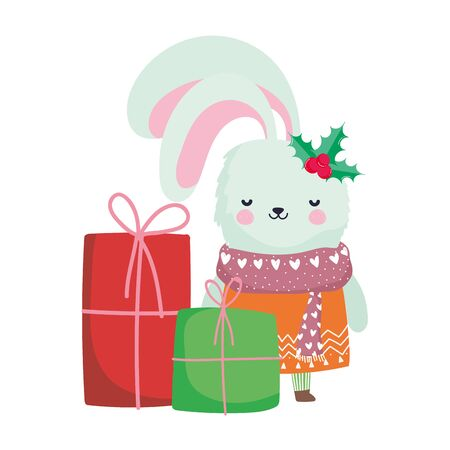 merry christmas cute rabbit with scarf sweater and gift boxes celebration vector illustration Çizim