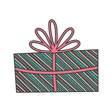 wrapped gift box decoration party icon vector illustration Çizim