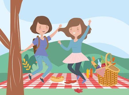 happy women picnic blanket food nature outdoor vector illustration Çizim