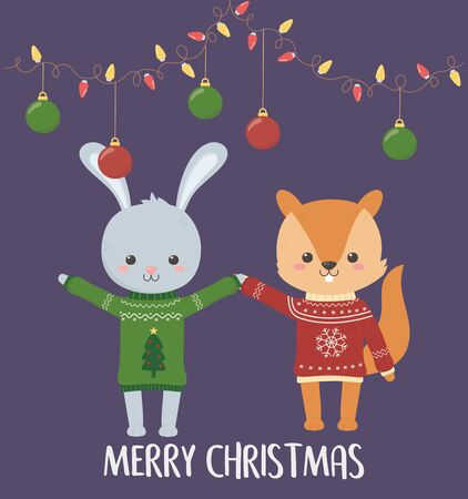 merry christmas celebration cute rabbit and squirrel with sweater and hanging balls and lights vector illustration Stok Fotoğraf - 133703822