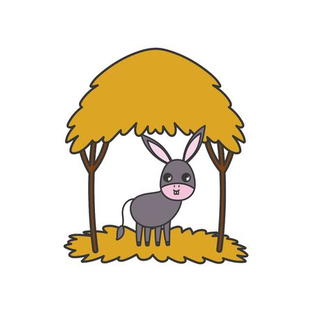 donkey hut nature outdoor cartoon design vector illustration