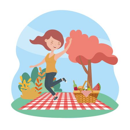 happy woman basket blanket picnic nature vector illustration Stock fotó - 133703848