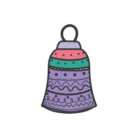 merry christmas celebration colored bell decoration vector illustration Stok Fotoğraf - 133703882