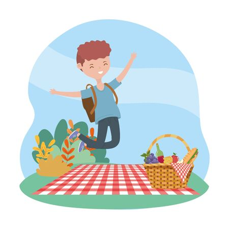 happy man with backpack and basket blanket picnic nature vector illustration