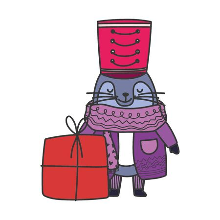 merry christmas monk seal with warm clothes and gift box celebration vector illustration