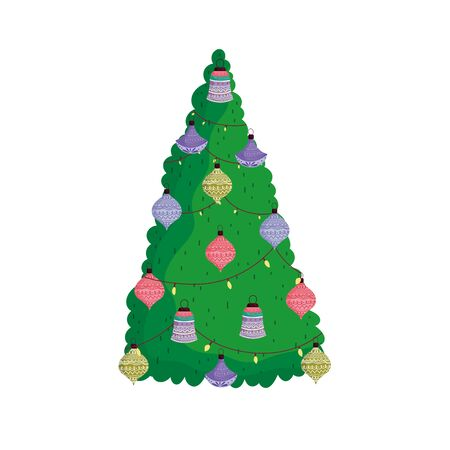 merry christmas decorative tree balls and lights vector illustration Ilustracja