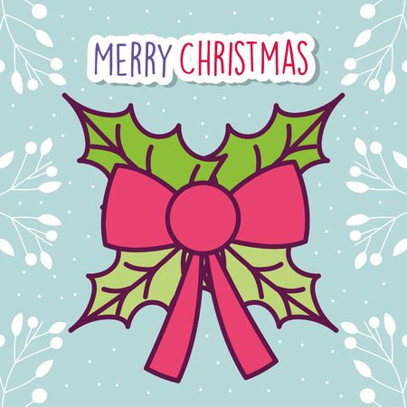 merry christmas celebration red ribbon bow leaves branches snow vector illustration Stok Fotoğraf - 133703965
