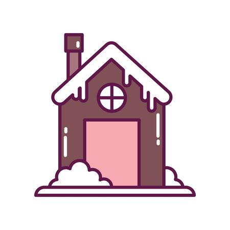 winter house with snow chimney vector illustration