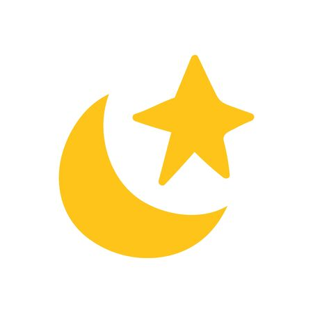 gold star and moon on white background vector illustration