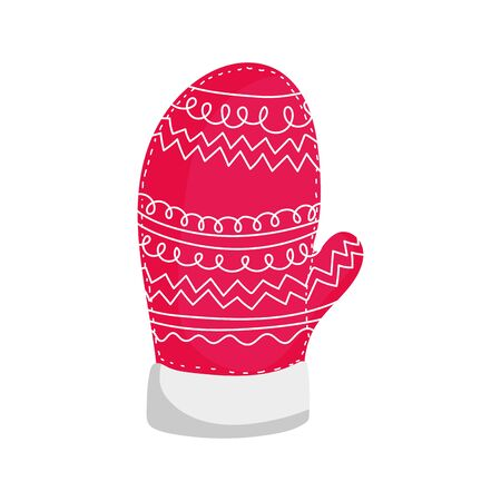merry christmas warm knitted glove vector illustration