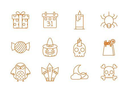 happy halloween celebration icons set color line vector illustration
