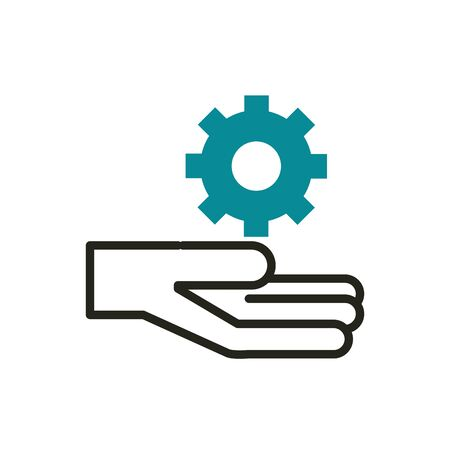 hand setting web development icon vector illustration line and fill