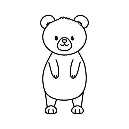 bear standing animal autumn on white background vector illustration thick line Foto de archivo - 133704035