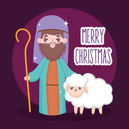shepherd with sheep manger nativity, merry christmas vector illustration Foto de archivo - 133704037