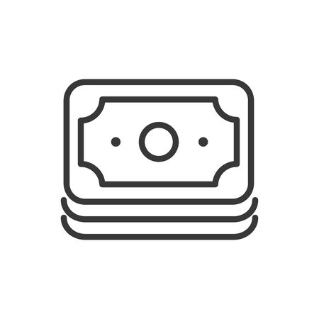 banknote cash bank money icon thick line vector illustration