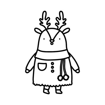 merry christmas celebration cute reindeer wearing scarf and sweater vector illustration thick line Stok Fotoğraf - 133704072