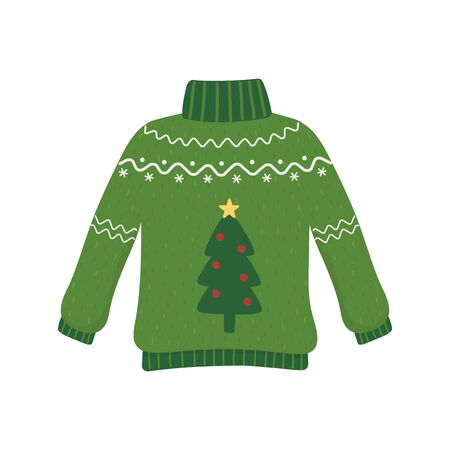christmas ugly sweater party decorative tree vector illustration
