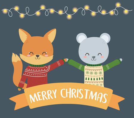 merry christmas celebration cute fox and bear with sweater lights ribbon vector illustration Stok Fotoğraf - 133704089