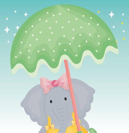 cute elephant with umbrella fantasy fairy tale vector illustration Çizim