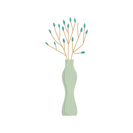 glass vase flowers decoration ornament icon vector illustration