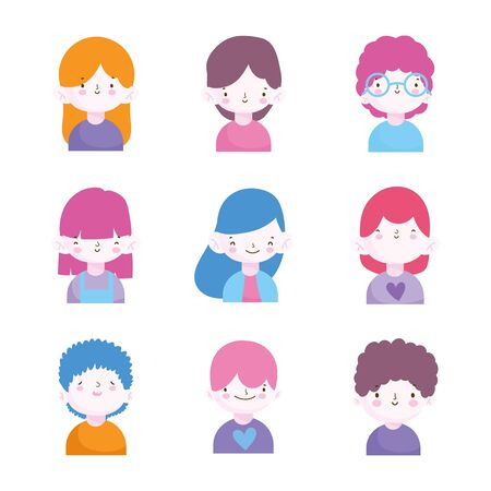 cute little boys and girls characters portrait set vector illustration Stok Fotoğraf - 133704148