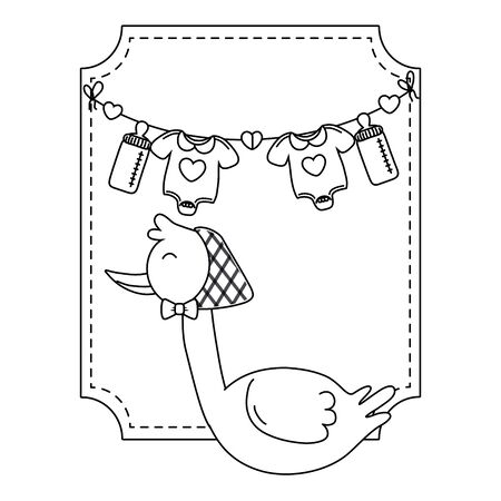 square frame with stork wearing bandana and baby clothes hanging from clothesline rope with feeding bottle vector illustration graphic design