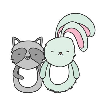 cute rabbit and raccoon cartoon animals vector illustration Stok Fotoğraf - 133703499