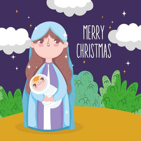 holy mary carrying baby jesus manger nativity, merry christmas vector illustration