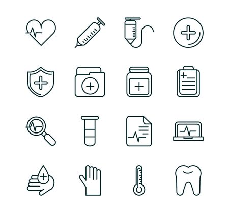 healthcare equipment medical icons set line fill