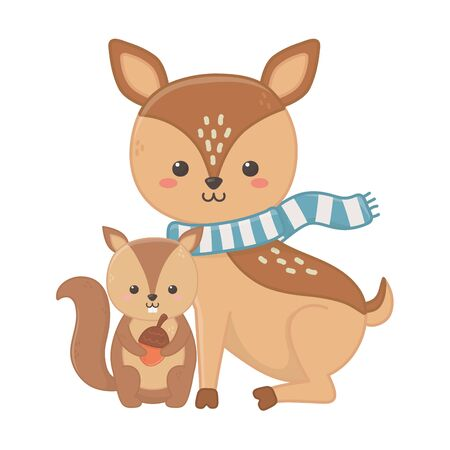 cute deer with scarf and squirrel holding acorn hello autumn vector illustration Stok Fotoğraf - 133703501