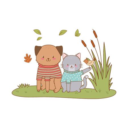 cute animals in the field woodland characters vector illustration design Stok Fotoğraf - 133703502