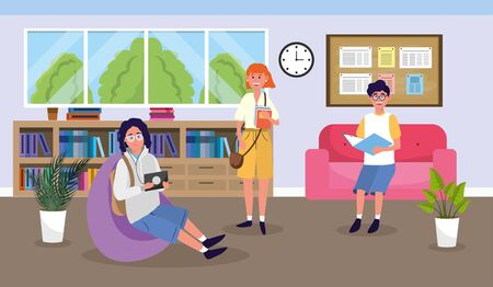 girl and boys in the library to education knowledge vector illustration Stok Fotoğraf - 133703466