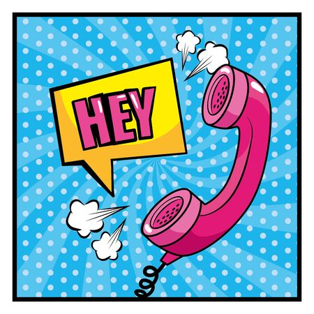 square chat bubble with hey message and phone vector illustration