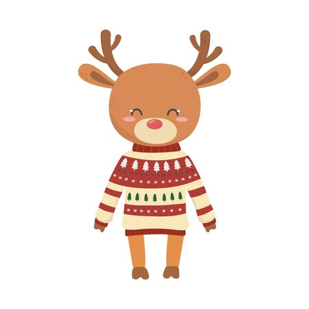 merry christmas celebration cute reindeer with sweater  decoration Stok Fotoğraf - 133703473