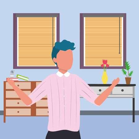 casual happy people man indoor scene at house home with furniture cartoon vector illustration graphic design Stok Fotoğraf - 133703476