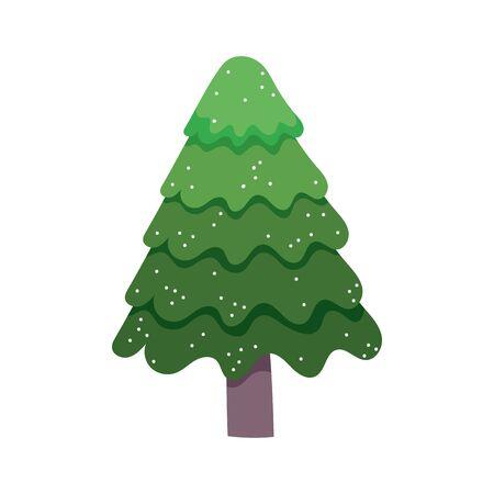 pine tree snow celebration merry christmas vector illustration