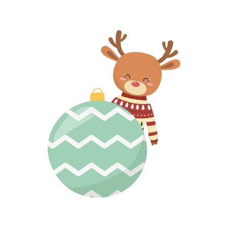 merry christmas celebration cute deer with sweater and ball decoration vector illustration