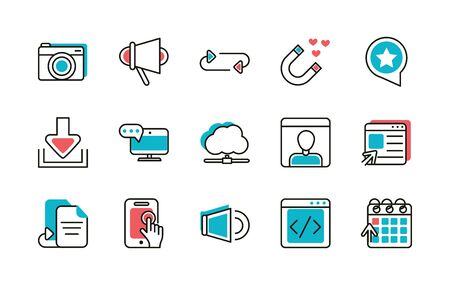 social media icons set line and fill vector illustration