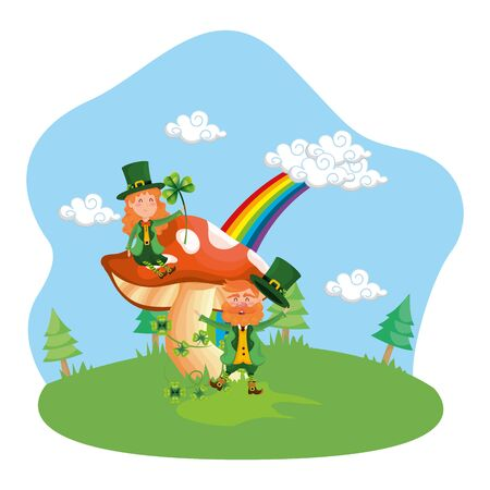 st patricks day couple cartoon vector illustration graphic design Stok Fotoğraf - 133703309