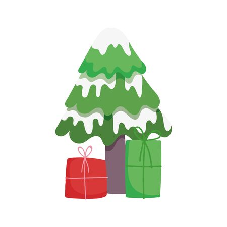 merry christmas tree with snow and gift boxes celebration vector illustration