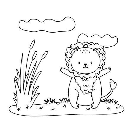 cute little animal lion cartoon vector illustration graphic design Stok Fotoğraf - 133703363